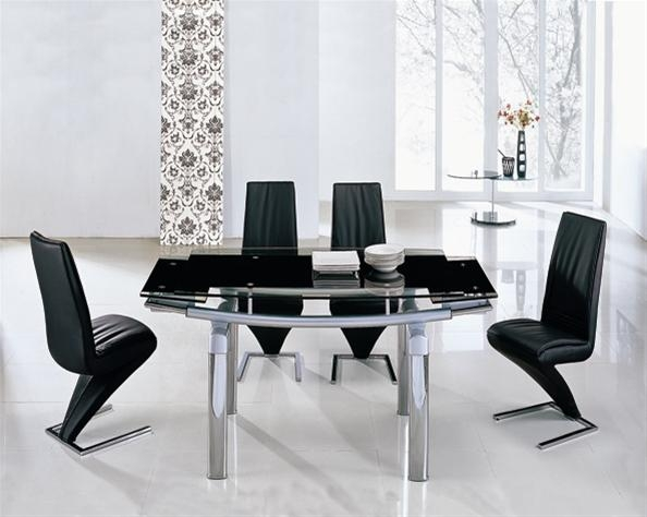 Delta Mega Extending Glass Dining Table, Dining Table And Chairs For Most Recently Released Black Glass Extending Dining Tables 6 Chairs (Image 7 of 20)