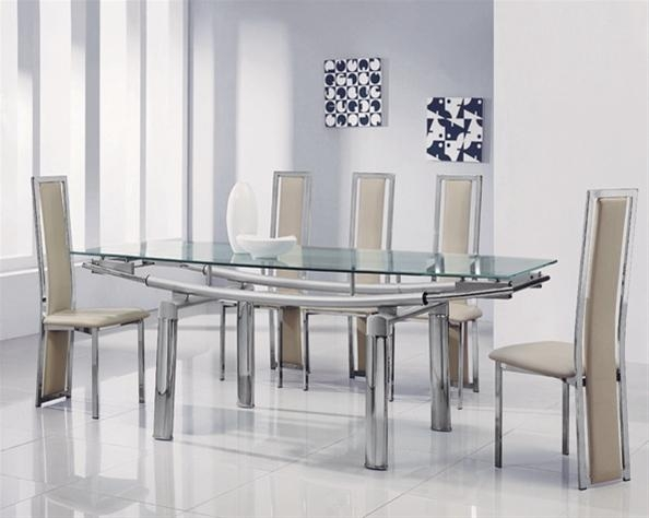 Delta Mega Extending Glass Dining Table, Glass Dining Table And Chairs Throughout Latest Glass Extendable Dining Tables And 6 Chairs (Image 11 of 20)