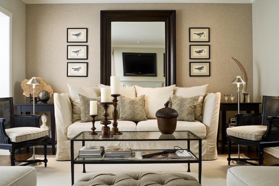 Design Dilemma: What To Hang On The Big Wall Behind Your Sofa With Mirror Above Sofas (Image 7 of 20)