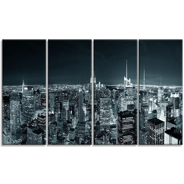 Designart 'new York City Skyline At Night' Cityscape Photo Metal Regarding Metal Wall Art New York City Skyline (Image 7 of 20)