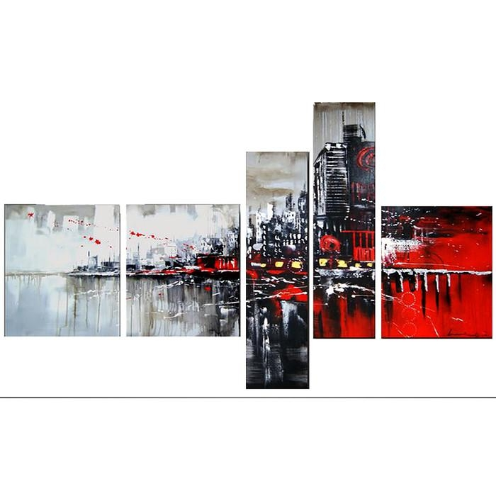 Designart Red/black Cityscape 5 Piece Graphic Art On Wrapped Intended For Red And Black Canvas Wall Art (View 15 of 20)