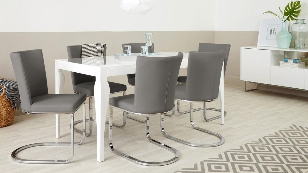 Designer Faux Leather And Chrome Dining Chair | Uk Exclusive With 2018 Grey Dining Chairs (Image 10 of 20)