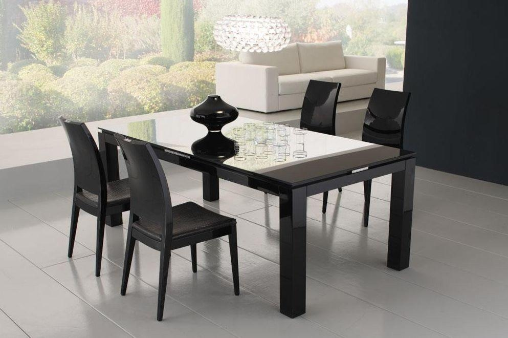 Diamond Black Dining Table With Glass Top | Dining Tables Pertaining To Latest Black Dining Tables (Image 8 of 20)