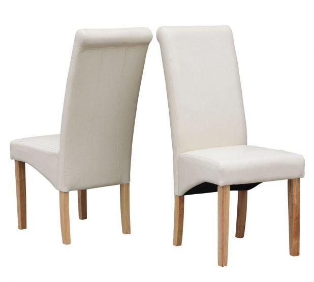 Dining Chairs : Outstanding White Faux Leather Dining Chairs For Most Recently Released Cream Faux Leather Dining Chairs (View 7 of 20)