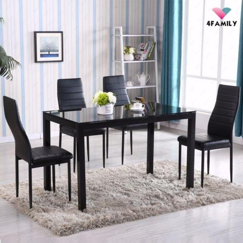 Dining Furniture Sets | Ebay With Regard To 2017 Black Glass Dining Tables And 4 Chairs (View 10 of 20)