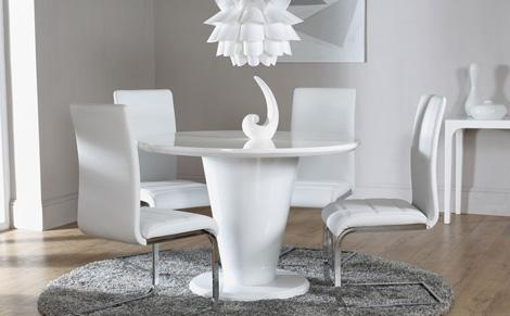 Dining Luxury Dining Table Set Round Dining Room Tables As White In Most Recent White Gloss Dining Room Furniture (View 7 of 20)
