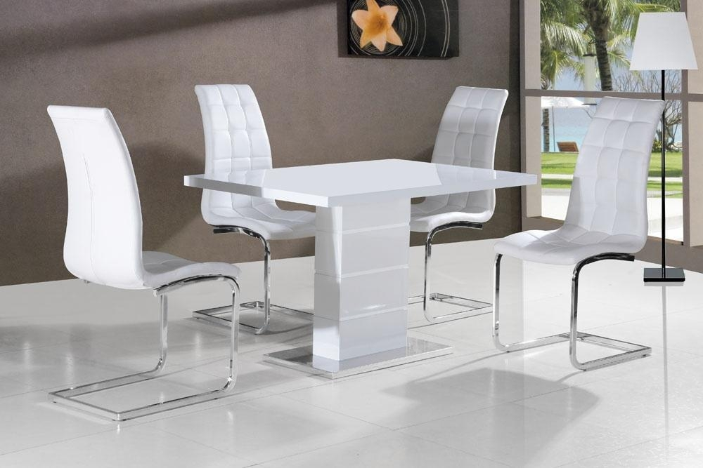 Dining Luxury Dining Table Sets Pedestal Dining Table On White Inside Most Popular White Gloss Dining Tables Sets (Image 4 of 20)