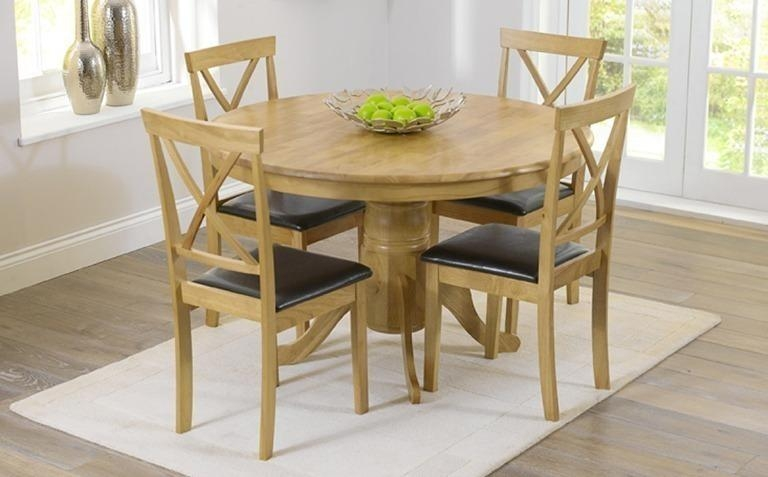 Dining Room: Amazing Oak Dinette Set Oak Dining Sets For 6, Dining Throughout Most Recent Round Extending Oak Dining Tables And Chairs (Image 8 of 20)
