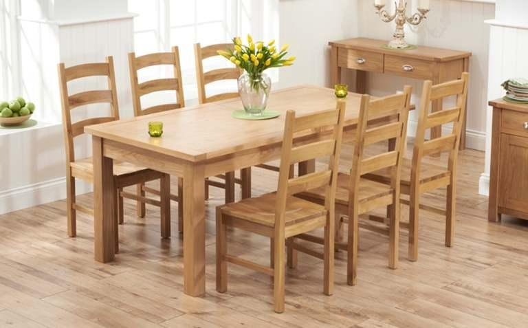 Dining Room: Amazing Oak Dinette Set Oak Dining Sets For 6, Dining With Most Recent Oak Dining Set 6 Chairs (Image 8 of 20)