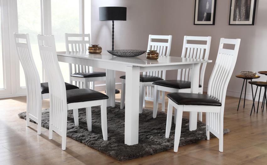Dining Room: Awesome White Dining Room Table White Dining Tables Within White Dining Sets (Image 10 of 20)
