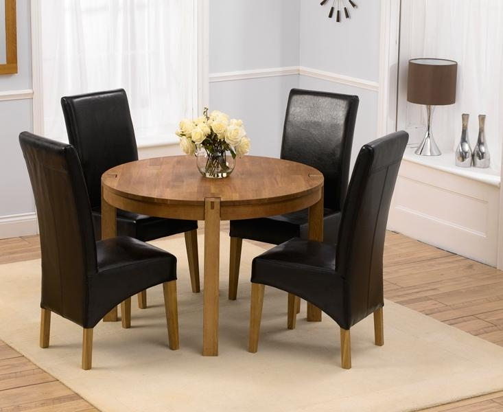 Dining Room Best Small Sets For 4 Uk Creditrestore Throughout Pertaining To Most Current Oak Dining Tables And Leather Chairs (Image 7 of 20)