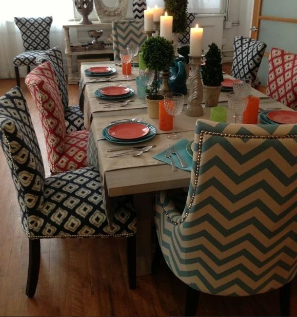 Dining Room Chair Cotton Fabric Ideas For Large Wood Dining Table Inside Latest Oak Dining Tables And Fabric Chairs (Image 7 of 20)
