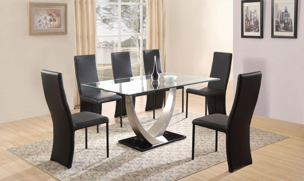 Dining Room Decorations : Glass Dining Table Black Chairs Glass Regarding Most Up To Date Black Glass Dining Tables 6 Chairs (Image 4 of 20)