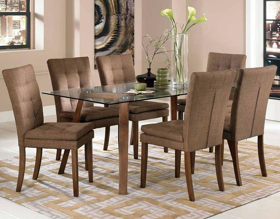 Dining Room Decorations : Glass Dining Table Brown Chairs Glass In Most Recent Dining Tables And Fabric Chairs (Image 9 of 20)