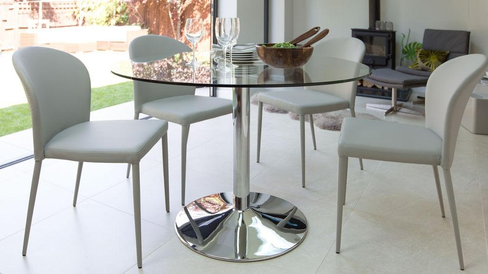 Dining Room Decorations : Glass Dining Table Chrome Legs Glass In Most Popular Glass And Chrome Dining Tables And Chairs (View 13 of 20)