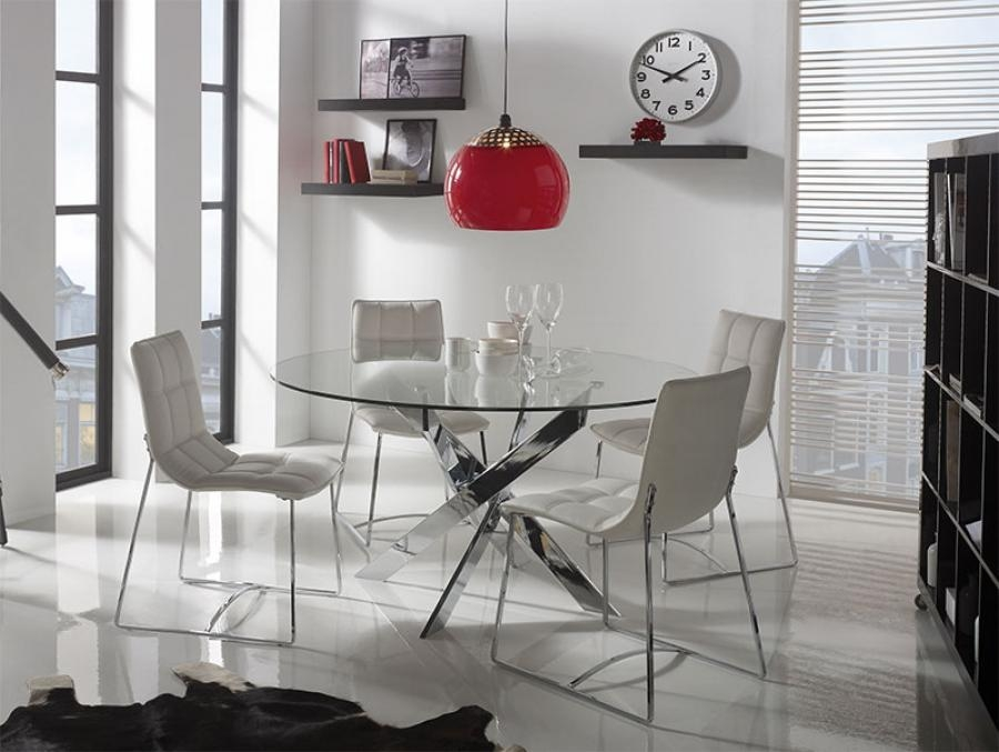 Dining Room Decorations : Glass Dining Table Chrome Legs Glass With Regard To Most Popular Chrome Dining Tables And Chairs (Image 12 of 20)
