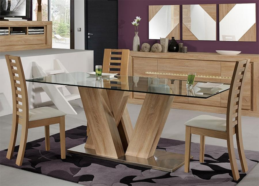 Dining Room Glass And Wood Dining Tables On Dining Room Latest With Regard To 2018 Oak And Glass Dining Tables And Chairs (Image 5 of 20)