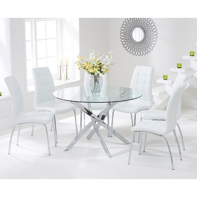 Dining Room: Interesting Round Glass Dining Table For 4 Glass Top With Most Recently Released Glass Dining Tables White Chairs (Image 9 of 20)