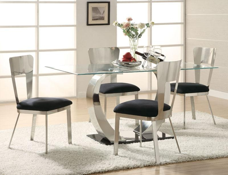 Dining Room: Kitchen Dining Set In Modern Style Of Glass Top For Current Glass And Chrome Dining Tables And Chairs (Image 10 of 20)