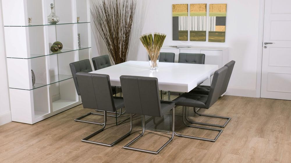 Dining Room: Outstanding 8 Seater Square Dining Room Table 8 With Most Up To Date White Dining Tables 8 Seater (Image 10 of 20)