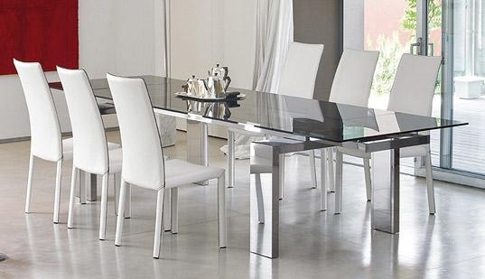 Dining Room Set With White Leather Chairs And Glass Table Top With Intended For Newest Glass Dining Tables And Leather Chairs (Image 11 of 20)