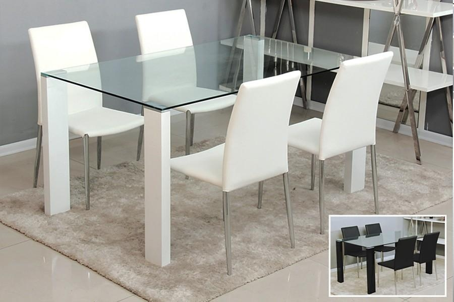 Dining Room : Small Modern Glass Dining Table With White Wooden Pertaining To Recent Glass Dining Tables And Leather Chairs (View 15 of 20)