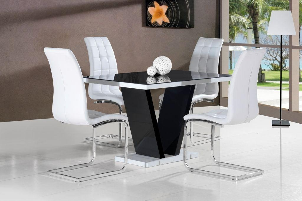 Dining Room The Most Galaxy Round Clear Glass Table And 4 White For Most Up To Date Black High Gloss Dining Tables And Chairs (Image 7 of 20)