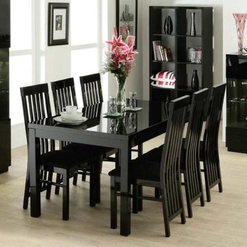 Dining Sets High Gloss | Mapo House And Cafeteria Pertaining To Most Up To Date Black Gloss Dining Sets (Image 7 of 20)