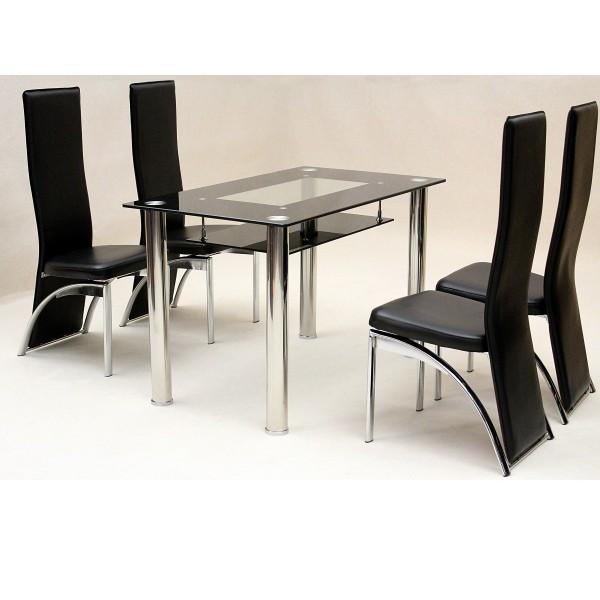 Dining Table 4 Chairs Glass » Gallery Dining With Most Popular Black Glass Dining Tables (Image 8 of 20)