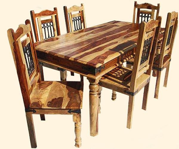 Dining Table And Chairs India Wooden Dining Room Chairs Rustic Throughout Most Current Indian Dining Tables And Chairs (Image 10 of 20)