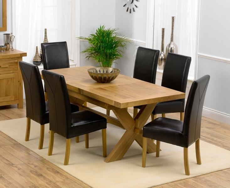 Dining Table And Chairs Solid Oak Extending Dining Table Size 160 Regarding Extending Dining Tables 6 Chairs (View 2 of 20)
