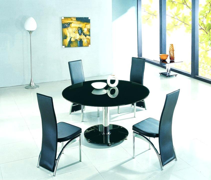 Dining Table ~ Black Round Dining Room Table And Chairs Glass 6 60 Throughout Best And Newest Round Black Glass Dining Tables And Chairs (Image 10 of 20)