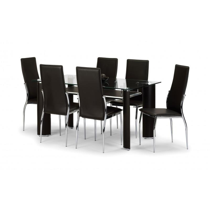 Dining Table & Chairs Set Regarding Newest Glass Dining Tables With 6 Chairs (View 10 of 20)