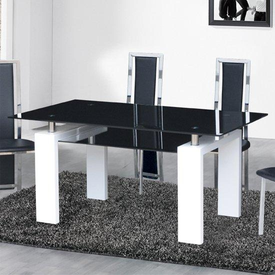 Dining Table In Black Glass With White Gloss Legs Intended For Current Black Gloss Extending Dining Tables (View 14 of 20)