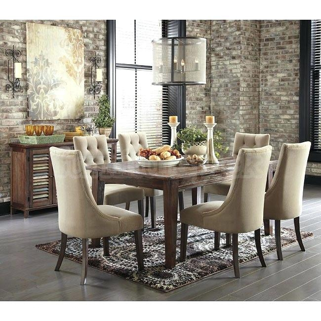 Dining Table ~ Round Dining Room Table With Upholstered Chairs Pertaining To Current Dining Tables And Fabric Chairs (Image 13 of 20)