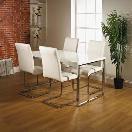 Dining Table Set High Gloss With 4 Dining Chairs Throughout Most Popular Cream High Gloss Dining Tables (View 3 of 20)