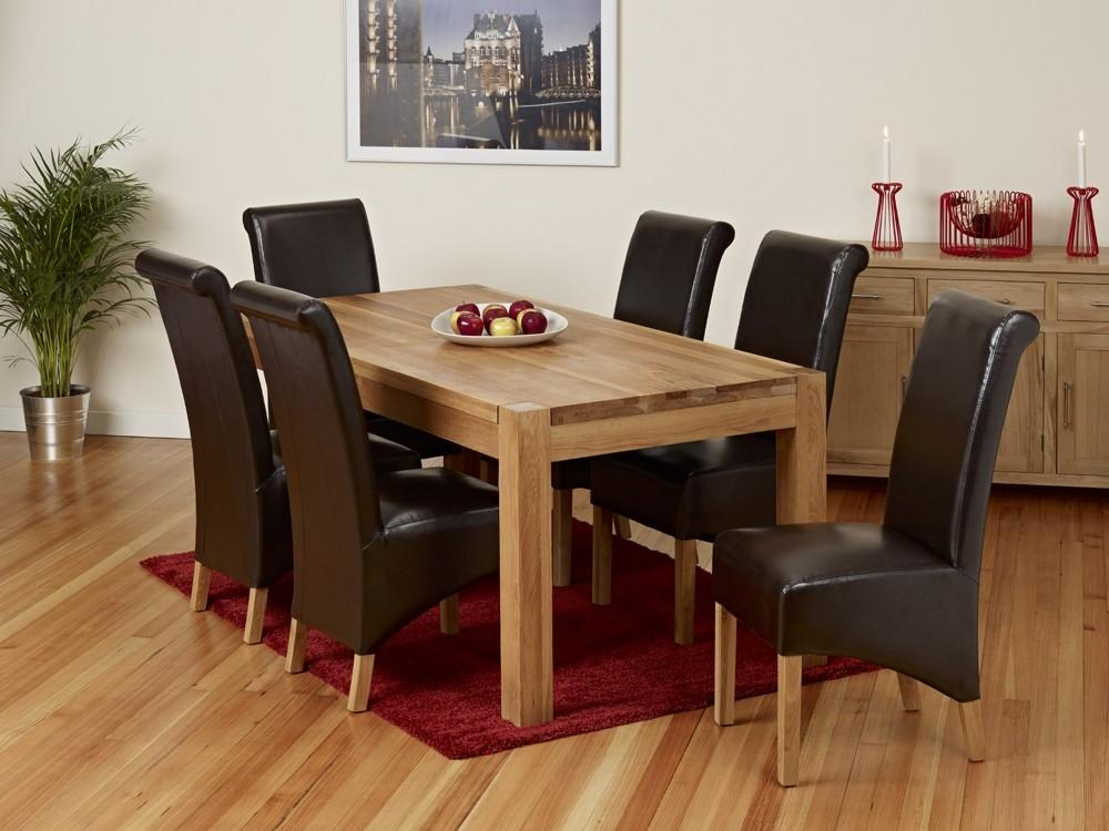 Dining Table With 6 Leather Chairs – Insurserviceonline With Regard To Most Recent Oak Dining Set 6 Chairs (Image 9 of 20)
