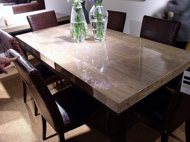 Dining Table With Polished Walnut Travertine Top And Leather For Current Stone Dining Tables (Image 5 of 20)