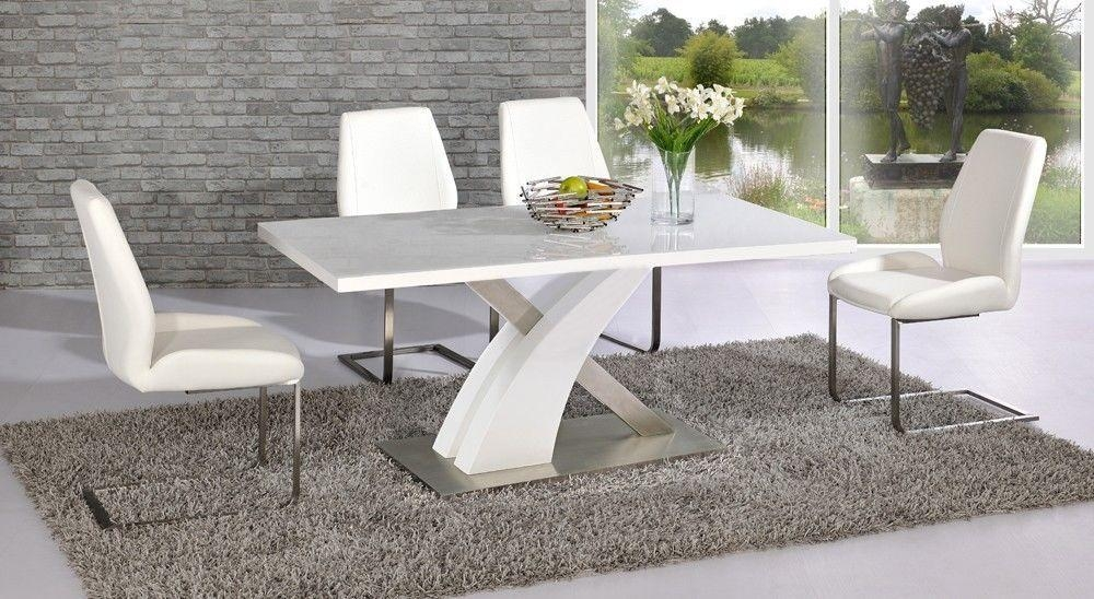Dining Tables: Amazing White Glass Dining Table Design Ideas Glass Throughout Most Popular White Gloss And Glass Dining Tables (Image 6 of 20)