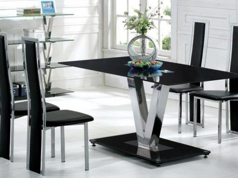 Dining Tables: Marvelous Black Glass Dining Table Design Ideas In Most Recently Released Black Glass Dining Tables (Image 10 of 20)