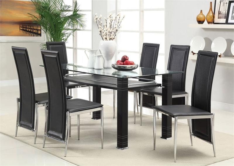 Dining Tables: Unique Glass Dining Table Set Design Glass Dining Intended For Most Popular Black Glass Dining Tables (Image 11 of 20)