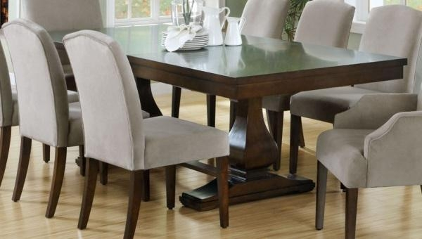 Dinning Rooms : Elegant Dining Set With Dark Wood Explandable Throughout Recent Wood Dining Tables (Image 12 of 20)
