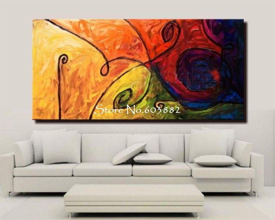 Discount 100% Handmade Large Canvas Wall Art Abstract Painting On Regarding Inexpensive Canvas Wall Art (Image 12 of 20)