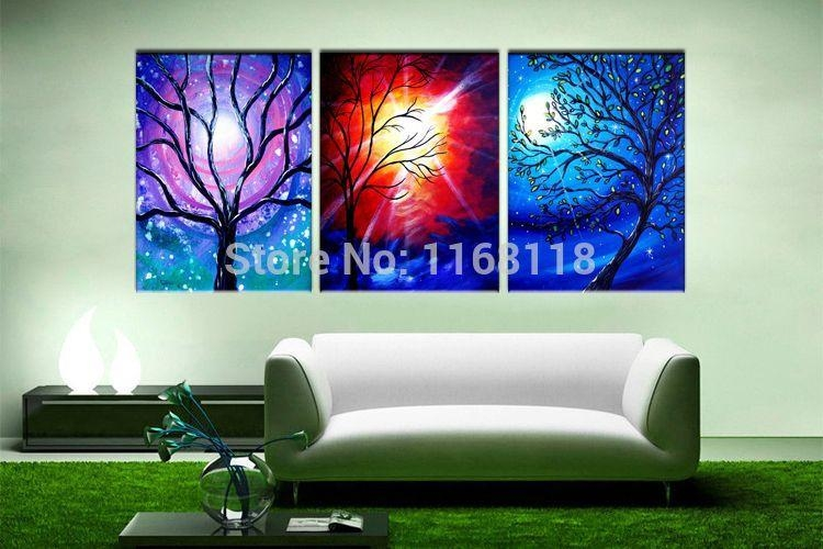 Discount Floral Painting Decorative Art Set Modern Wall Art Regarding 3 Piece Floral Wall Art (View 20 of 20)