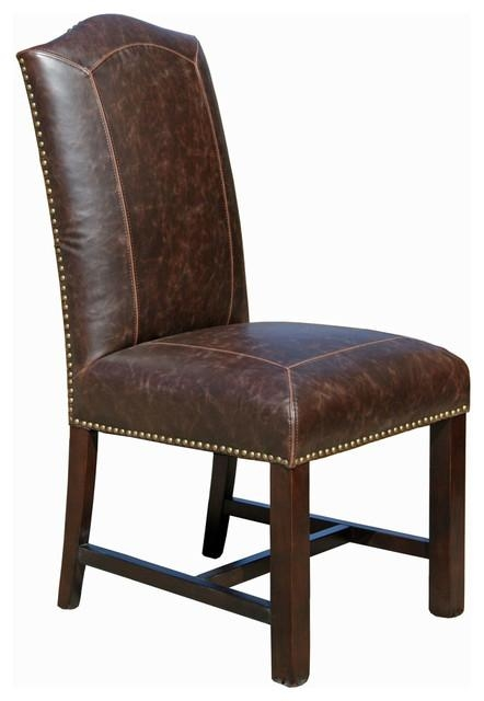 Distressed Leather Dining Chair – Transitional – Dining Chairs Intended For Brown Leather Dining Chairs (View 16 of 20)