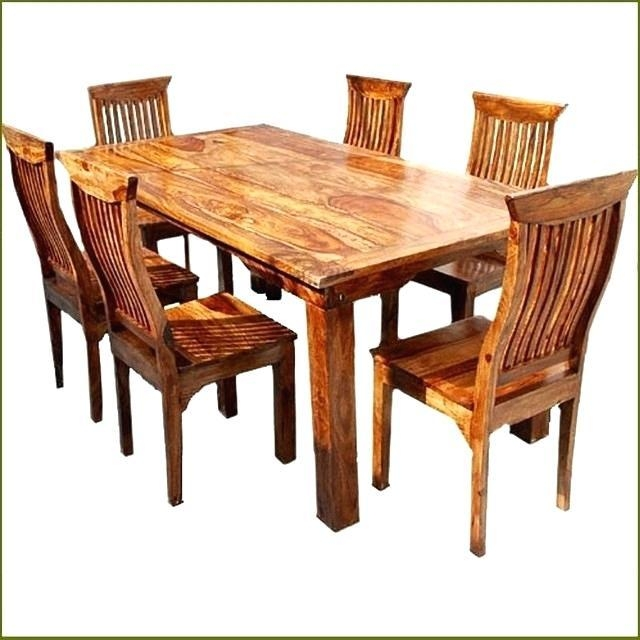 Distressed Wood Dining Table Set – Mitventures (Image 9 of 20)