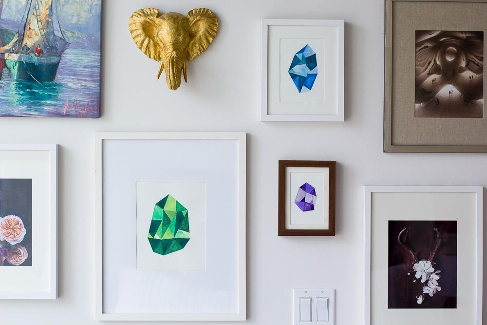Diy Faceted Gemstone Wall Art — Wandeleur Throughout Diy Watercolor Wall Art (Image 7 of 20)
