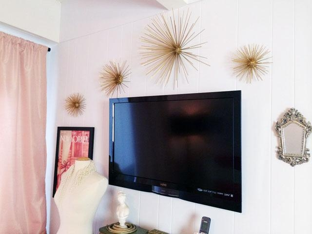 Diy Gold Sea Urchin // Starburst Wall Decor Tutorial | Love Maegan In Glamorous Mother Of Pearl Wall Art (Image 17 of 20)