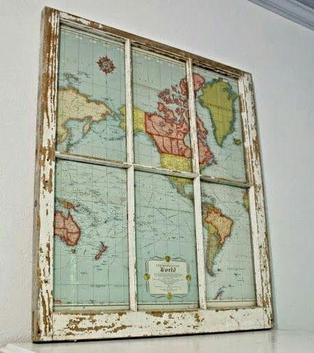 Diy Map Project: Window To The World | Window Frames, Vintage Maps Regarding Vintage Map Wall Art (View 13 of 20)