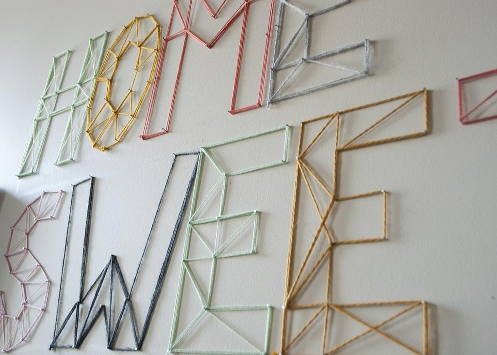 Diy | Nail And Yarn Wall Art « Jen Loves Kev Inside Nail And Yarn Wall Art (Image 9 of 20)